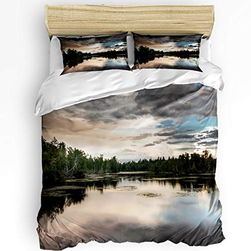 - YEHO Art Gallery Full Size Luxury 3 Piece Duvet Cover Sets for Boys Girls,Gray Clouds Reflected in The Lake Bedding Set,Include 1 Comforter Cover with 2 Pillow Cases