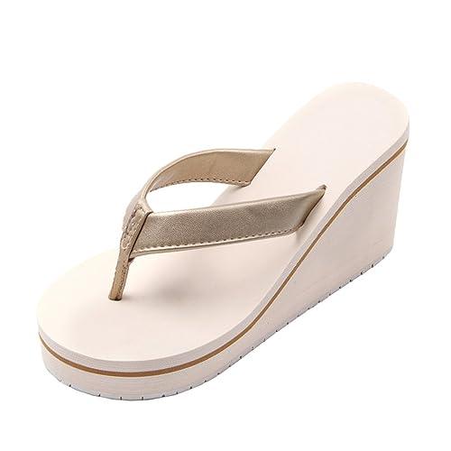 save off d2975 abe63 Yiiquanan Infradito Donna, Sandali da Spiaggia con Tacco Zeppa Estive  Elegant Pantofole Ciabatte Mare Scarpe