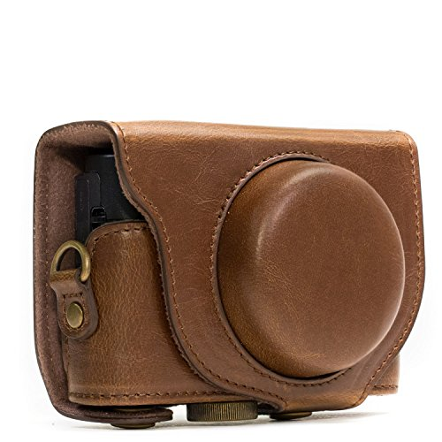 MegaGear MG284 Sony Cyber-shot DSC-RX100 VI, DSC-RX100 V, DSC-RX100 IV, DSC-RX100 III Ever Ready Leather Camera Case with Strap - Dark Brown