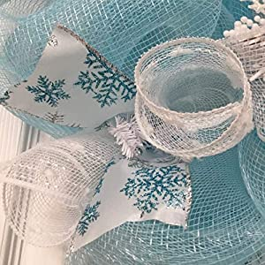 Frozen Winter Deco Mesh Wreath With Snowballs 5