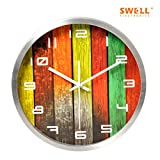FortuneVin Wall Clock Silent movement Wall Clock Home Office Decor for Living Room Bedroom and Kitchen Clock Wall Creative 12-Inch Faux Wood-Grain Watches Mute, Silver Box Gaming Keyboard