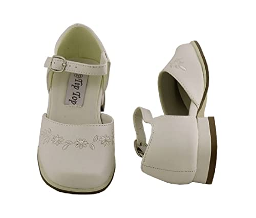 Girls Ivory Dress Shoes with Flowers Baby to Girls Sizing (3 Girls 081106e41ce