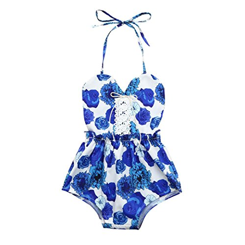 Price comparison product image Goodtrade8® Clearance Sale! Toddler Infant Baby Girl Flower Bodaysuit Outfit Spaghetti Strap Halter Romper Kids Ruffle Sleeveless Jumpsuit Playsuit Sunsuit (0-6 Months,  Blue)