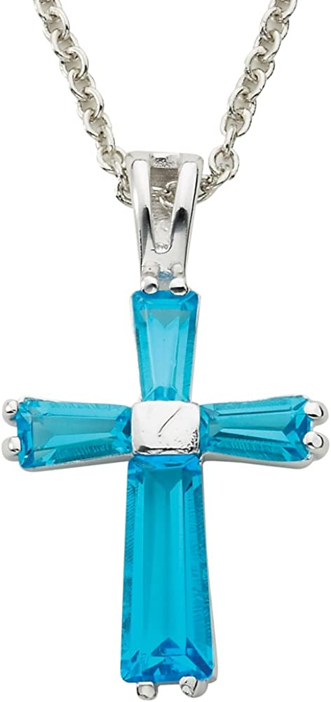 TrueFaithJewelry Sterling Silver July Birth Month Latin Cross Pendant 1 Inch