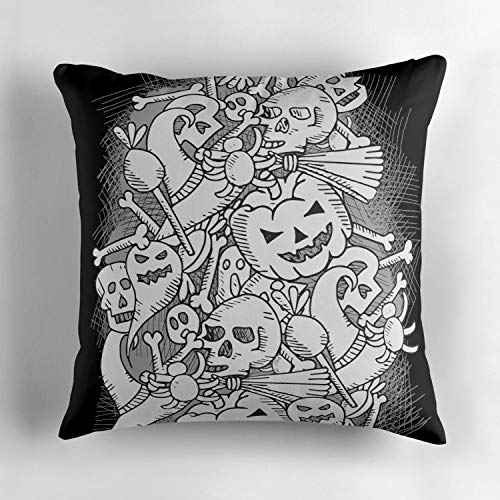 Wbsdfken Halloween Pattern Pumpkins Spiders Witches Skulls and Ghosts Black and White Goth Dark Customized DIY Design Cushion Cover Throw Pillow Case Perfect Decor for Family 18x18 Inch for $<!--$5.69-->