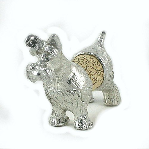 Schnauzer Sculpture Displays Your Wine Cork - Handcrafted Pewter Made in USA - Wine and Pet Lover Gift