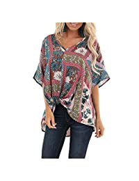 SNOWSONG Womens Oversized V-Neck Boho Print Blouse Twist Front Short Sleeve Loose Fit Tunic Shirts