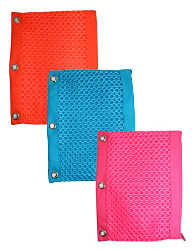 Inkology Fashion Mesh Fabric 3 Ring Binder Pencil Pouch, ...