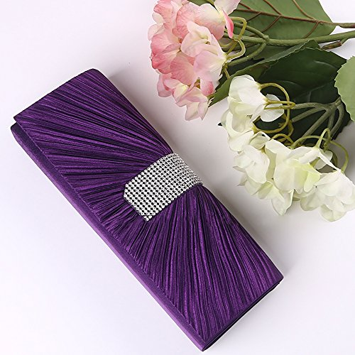 Women's Bag Pleated Satin Rhinestone Evening Clutch QZUnique Luxury Handbag Purple IYndqHxYS