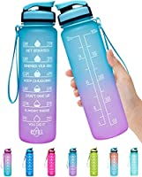 Elvira 32oz Large Water Bottle with Motivational Time Marker & Removable Strainer,Fast Flow BPA Free Non-Toxic for...