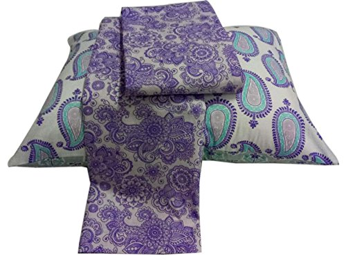 Bacati Isabella Girls Paisley 3 Piece Bedding Sheet Set 100 Percent Cotton for US Standard Cribs/Toddler Beds, Lilac/Purple/Aqua