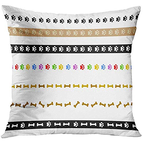 - Throw Pillow Cover Black Border Colorful Dog Paw Prints and Bone Divider Collection on White Pet Pawprint Decorative Pillow Case Home Decor Square 18x18 Inches Pillowcase