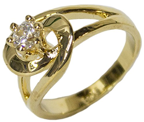 - Women's 18 Kt Gold Plated Dress Ring Circle Cut CZ Solitaire 115 (6)