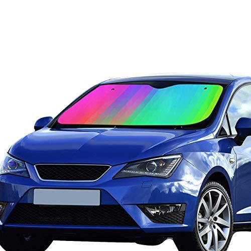 WUwuWU Car Kids Sun Shade Colorful Abstract Art Palette Rainbow Polyester&aluminized Film Cushion Custom Car Windshield Sun Shade Foldable Maximum Uv&Sun Protection Keep Your Vehicle Cool 55x30in