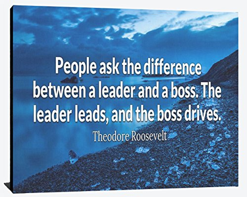 Difference Between Leader and Boss Leader Lead Boss Drives Theodore Roosevelt Relentless Fearless Perseverance Prosperity Success Wood Wall Art Print Photo Image Decor