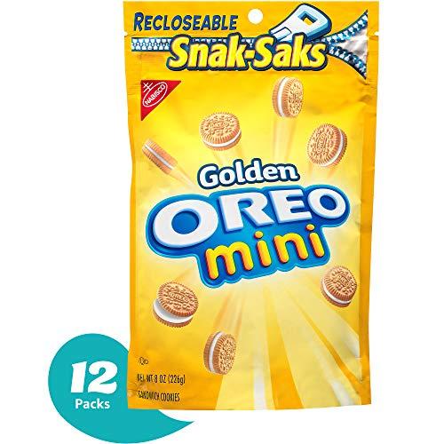 OREO Mini Golden Sandwich Cookies Vanilla Flavor 12 Resealable SnakSaks