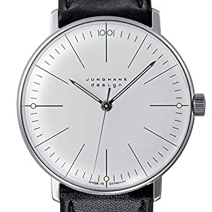 MAX Bill Manual Lines Watch, White Face, Black Leather Band 34 mm