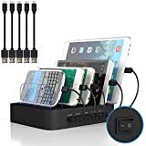 Multi Device Charging Station MSTJRY USB Charging Dock with Switch Cell Phone 5 Port Charging Station for multiple devices(BLACK, 5 short Cables Included)