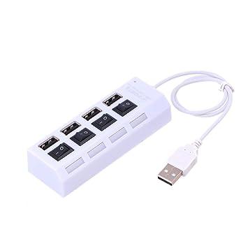 LEDMOMO Hub USB portátil 4 Puertos USB 2.0 Hub de expansión de Datos de Alta Velocidad
