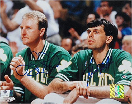 Boston Bench - Larry Bird Kevin McHale Dual Signed Autograph 8x10 Photo Boston Celtics Bench GA