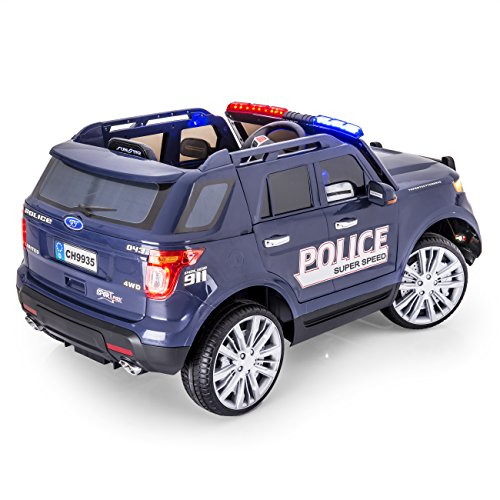 amazoncom sportrax adventurer police kids ride on car battery powered remote control wfree mp3 player blue toys games