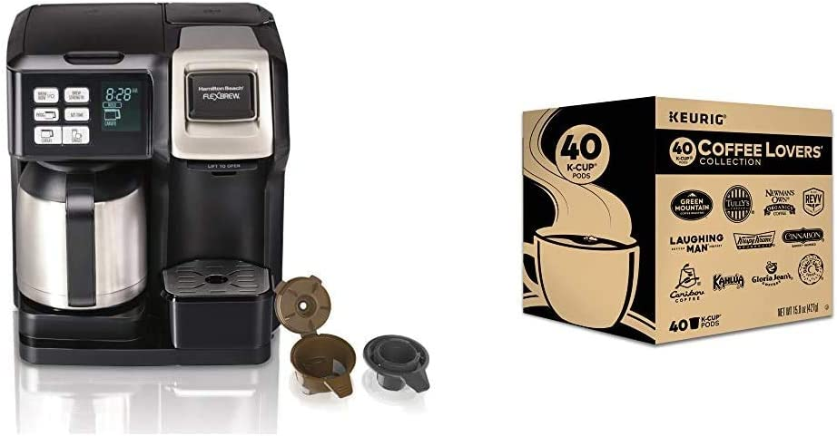 Hamilton Beach FlexBrew Thermal Coffee Maker, Single Serve & Full Pot, Black and Stainless & Keurig Coffee Lovers' Collection Variety Pack, Single-Serve Coffee K-Cup Pods Sampler, 40 Count