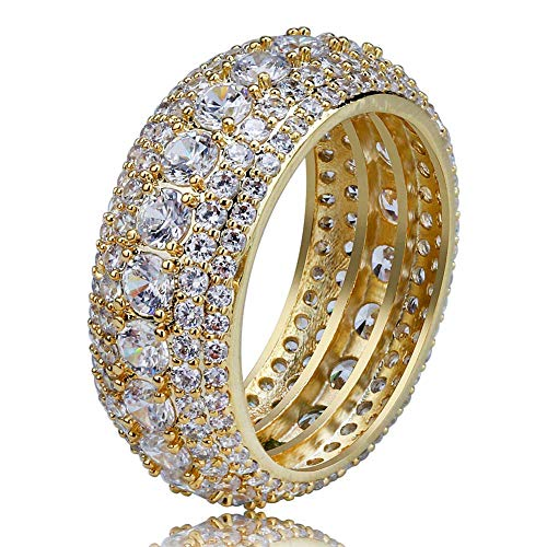 TOPGRILLZ 5 Row 10mm Gold Plated Bling Iced Out CZ Royal Simulated Diamond Eternity Wedding Engagement Band Ring for Men Hip Hop (Gold, 11)