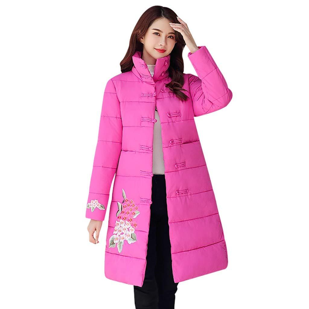 Fashionhe Women Winter Long Outwear Floral Embroidery Prink Windbreaker Coat Slim Jacket Overcoat (Hot Pink.L) by Fashionhe