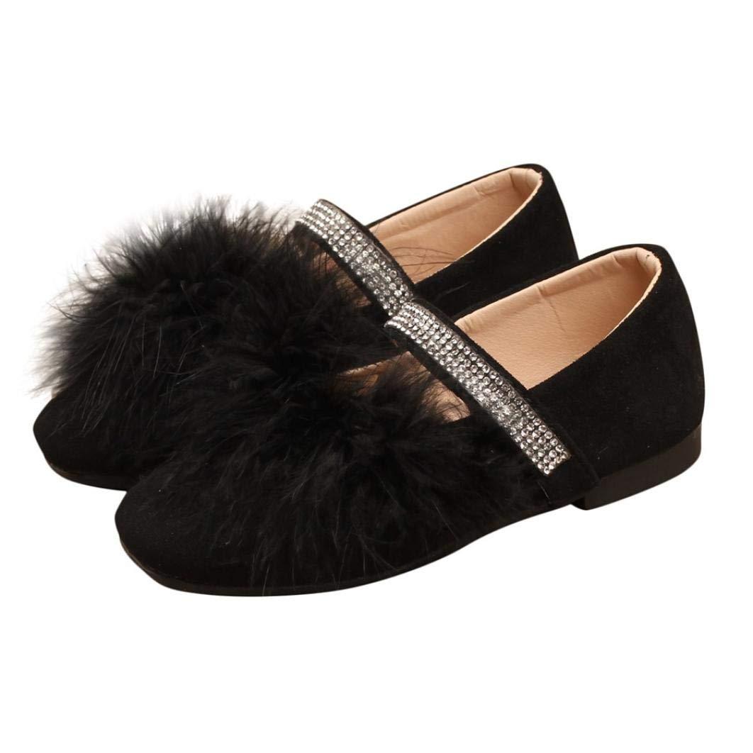 ZODOF Ni/ños Infantil Ni/ño Ni/ñas Solid Flock Crystal Princess Solo Zapatos Casuales