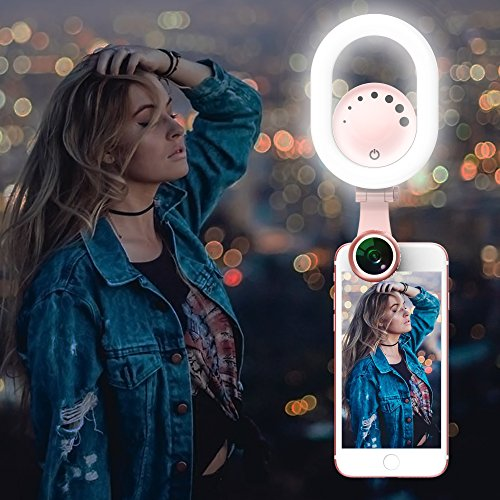 Selfie Ring Light Clip on - Luxsure 48 LED 180° Rotatable Camera Makeup Light Kit, 3 Modes, Adjustable, Rechargeable, for iPhone Ipad Samsung Most Smartphones Tablet Laptop (Pink)