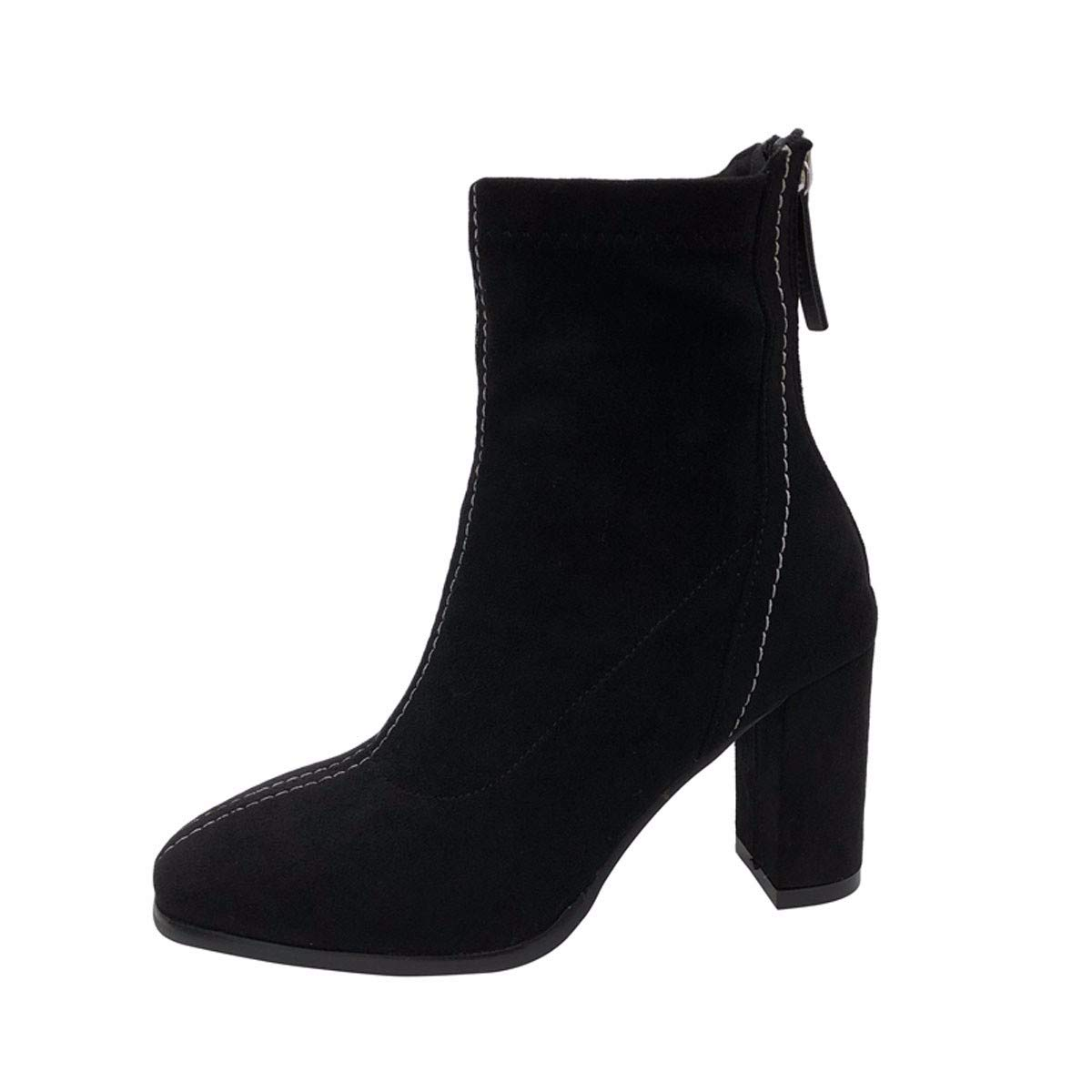HBDLH Damenschuhe Ferse Mit Hohen 8Cm Komfortable Bestickten Faden Hinten Reißverschluss Kurze Stiefel.