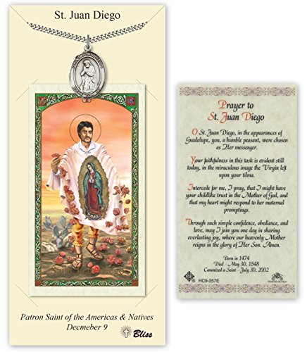 Pewter Saint Juan Diego Medal with Laminated Holy Prayer - Juan Medal Diego
