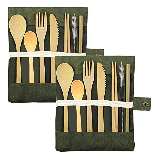 2 Sets of Bamboo Utensils,Reusable Travel Cutlery Set,Forks Knives Chopsticks Spoons Straws and Brushes,Portable Flatware for Camping, Picnic, Office, Lunch