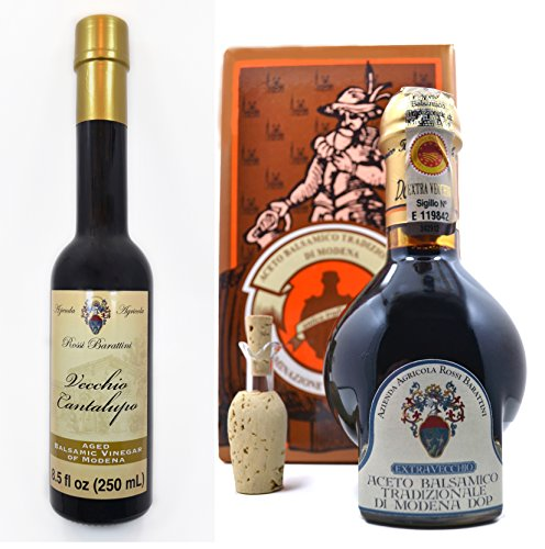 Extra-Vecchio 25 Year Aged Traditional Balsamic Vinegar of Modena 100ml Bottle AND Vecchio Cantalupo 6 Year Aged Balsamic Vinegar of Modena 250ml Bottle-Bundle (2 items) 1 Bundle of 2, Qty of 1, Rossi Barattini 6 Year & Qty of 1, 25 Year Aged Balsamic Vinegar of Modena The Cantalupo Vecchio has a syrupy consistency with a sweet & tart flavor. An inexpensive alternative to the Traditionals. The Extra-Vecchio Traditiona Balsamic Vinegar of Modena is aged for a minimum of 25yrs.