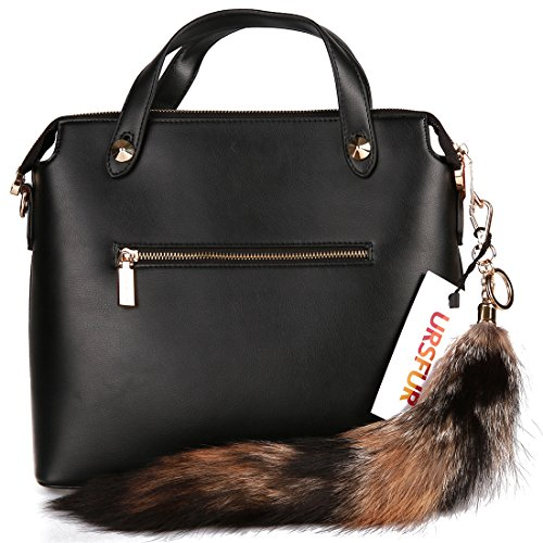 URSFUR Sesamum Fox Tail Fur Tag Keychain Purse Tassel Key ring Bag Charm Pendant
