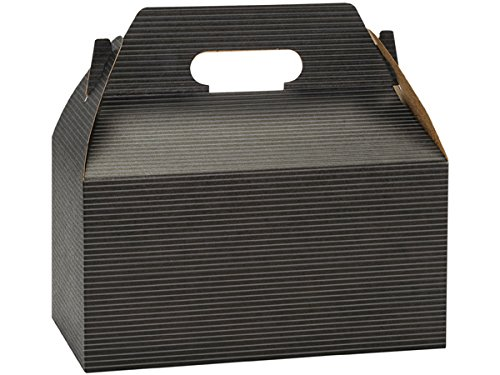 Pack of 125, Black Pinstripe Gable Boxes 9.5 x 5 x 5'' for Unique Presentations & Food Packaging by Generic