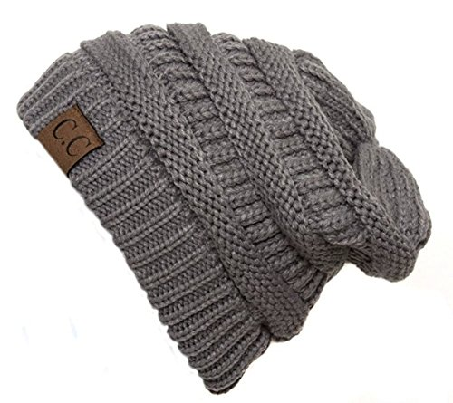 C.C Women's Thick Slouchy Knit Beanie Cap Hat One Size Light Grey