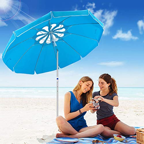 MOVTOTOP 6.5ft Beach Umbrella with Tilt Aluminum Pole, UPF 50 Flower Vents Design and Portable Sun Shelter for Beach and Outdoor Activities, Including Carry Bag and Sand Anchor