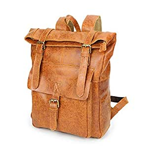 Rjj Backpack Men's Leather Bag Outdoor Travel Bag Anti-Theft Computer Backpack Waterproof Mountaineering Bag Ergonomic Carrying System 25 * 11 * H46CM Exquisite (Color : Beige)