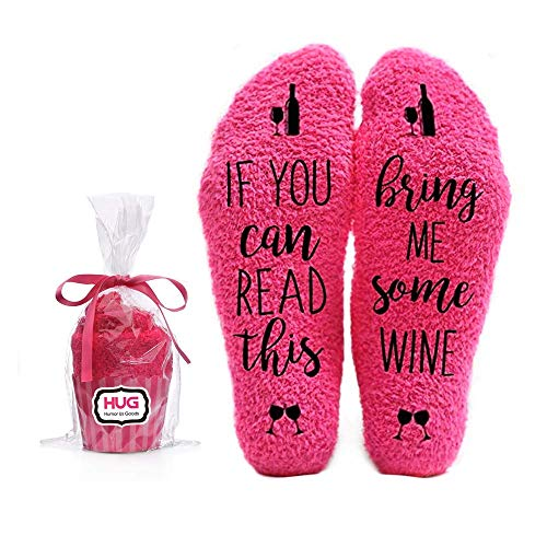 Bring Me Wine Fuzzy Pink Socks - Novelty Cupcake Packaging for Her - Birthday Gift Idea for Women, Mom, Wife, Sister, Friend, Aunt or Grandma - 1 Pair Christmas Stocking Stuffers (Small For Gift Ideas Friends)