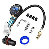 Tire Pressure Gauge, Serpeo Digital Auto Tire Inflator with Gauge, Air Compressor Accessories with Air Chuck, Valve Extender, Air Hose, 200 Psi