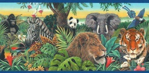 (Blue Jungle Animals Wallpaper Border Animal Kingdom Bright Jungle Panda Elephant Lion Zebra Tiger)