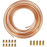 """LEDKINGDOMUS 25 Ft. Roll Coil of 3/16"""" OD Copper Nickel Brake Line Tubing Kit with Fittings (Gold)"""