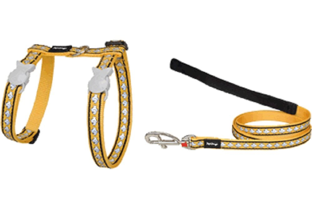 Red Dingo Reflective Cat Harness And Lead Combo  Yellow