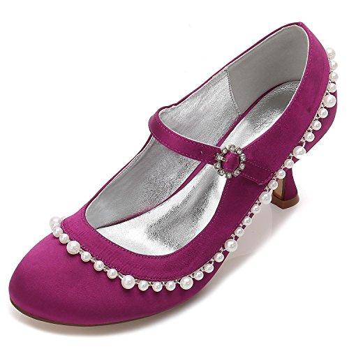 Elegant high shoes Zapatos de Boda Para Mujer F17061-62 Rhinestone Sparkling Wedding & Pump Vestido de Noche de Satén Elástico Purple