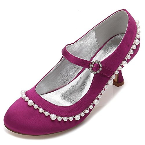 Wedding Women's F17061 Gown Evening Rhinestone amp; Satin Pump L Office YC Wedding Sparkling Shoes Stretch Purple 62 56IqwEwUx