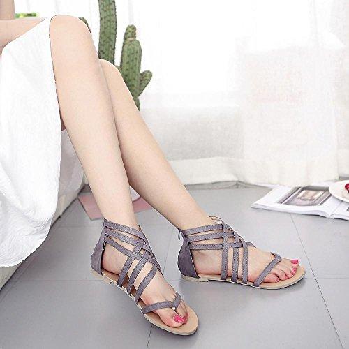 zapatos flops Toe planas ® vestir correa Gris Flip de mujeres Sandalias Gladiador sandalias Ouneed Las Bohemia q16qTOvn