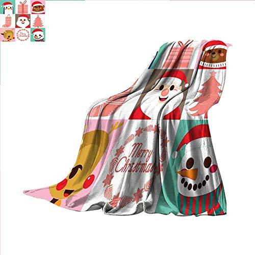 ALLMILL Christmas Digital Printing Blanket Popular Noel Icon Happy Penguin Reindeer Santa Claus Snowman in Flat Digital Design Summer Quilt Comforter 90