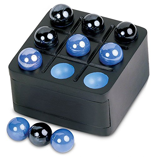Launch Innovative Products Zoch Tic-Tac-Toe Mini Travel Blue and Black Wood Board Game Set with Marble Pieces