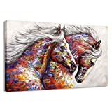 BYXART Animal Framed Wall Art for Living Room Bedroom Home Decor Colorful Two Running Horses Prints and Posters Canvas Painting Horse Pictures for Walls Ready to Hang (24x36in, Multi)